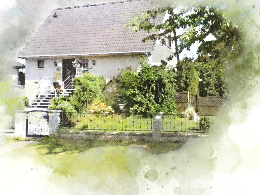zeichnung vom Eigenheim