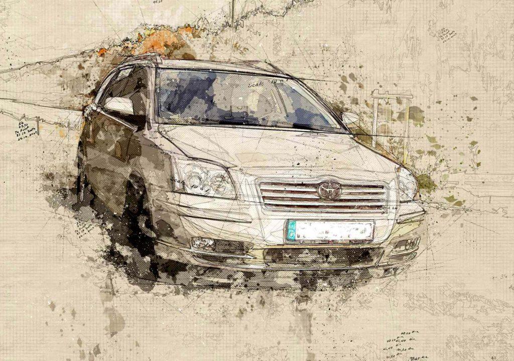 Zeichnung Gemälde vom Auto