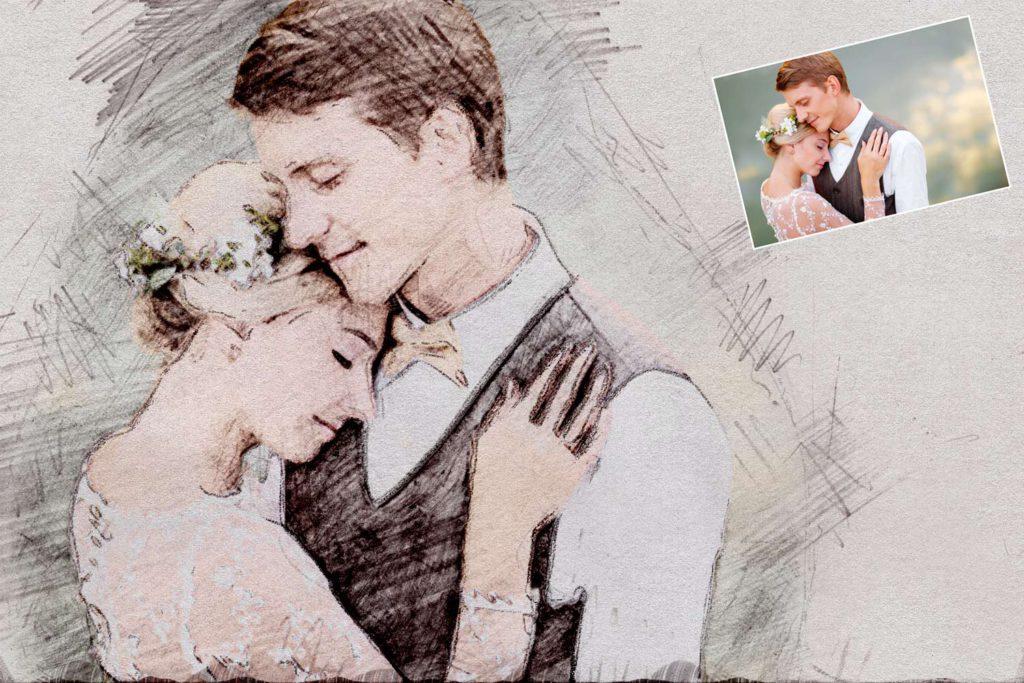 Bleistiftzeichnung Hochzeitsfoto