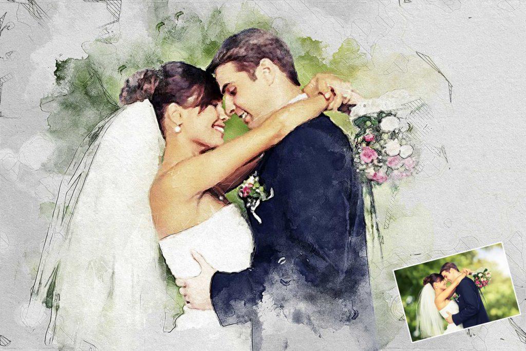 Aquarellzeichnung Hochzeitspaar