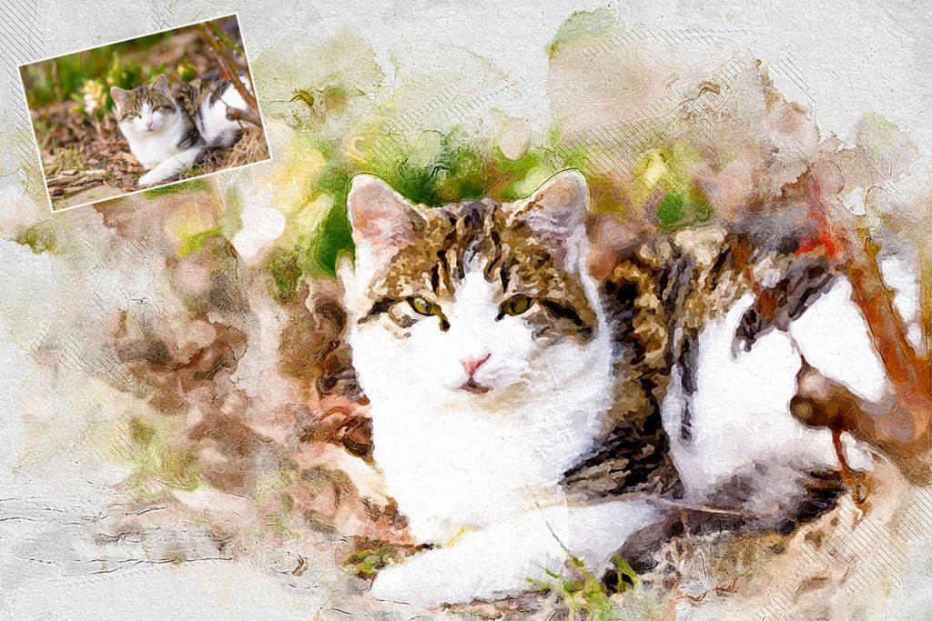 Katze-Portrait-Aquarell