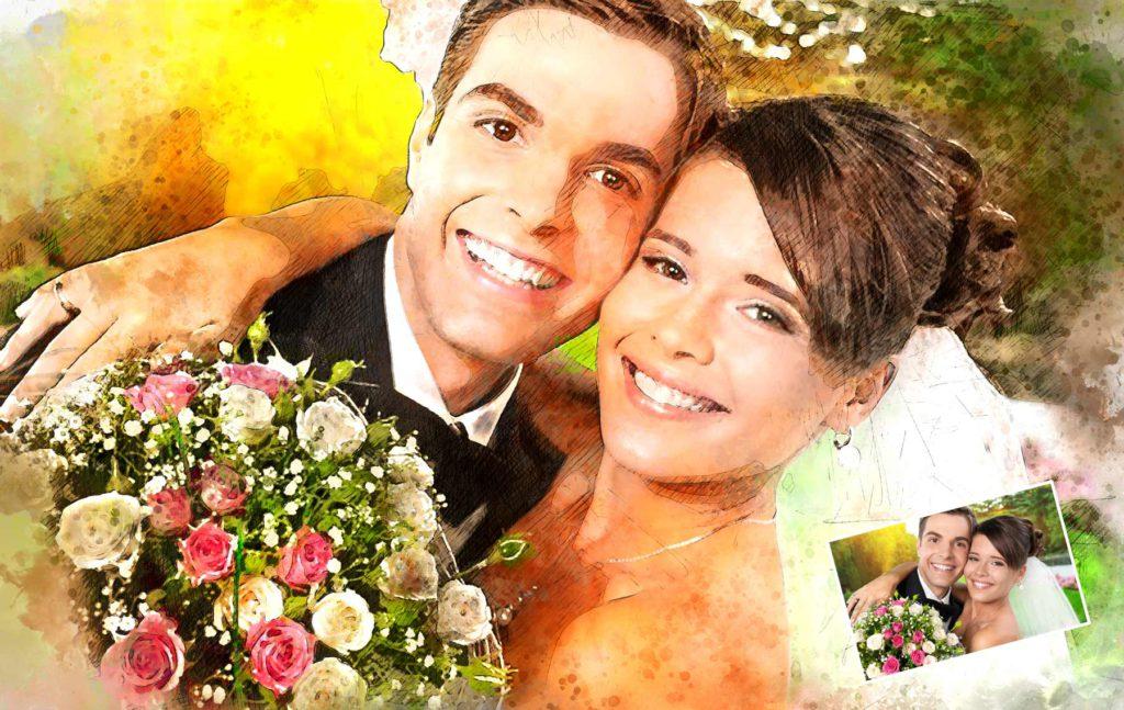 Gemälde vom Hochzeitspaa Foto