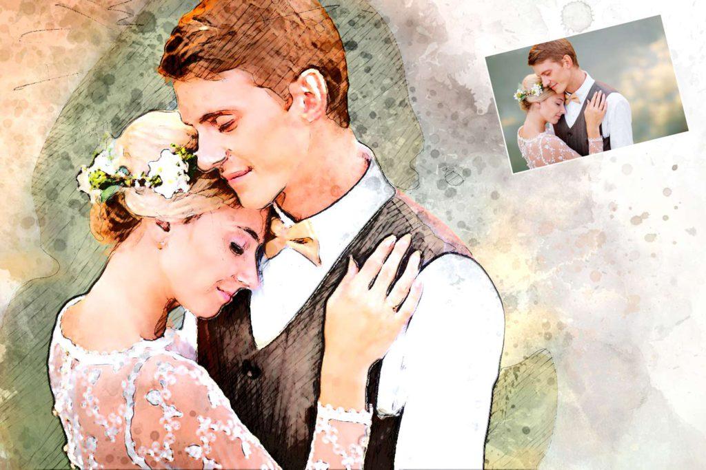 Aquarell Hochzeitspaar
