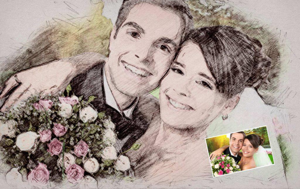 Zeichnung Hochzeitspaar vom Foto