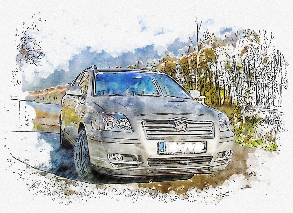 Aquarell Zeichnung Auto