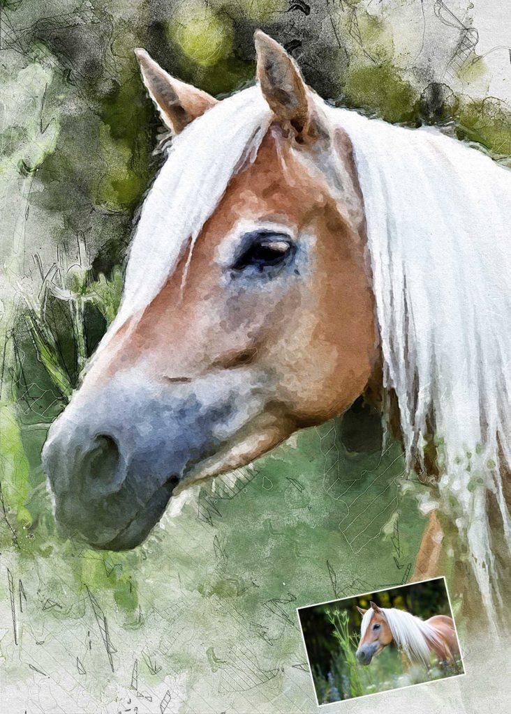 Gezeichnetes Tier Aquarell Pferd