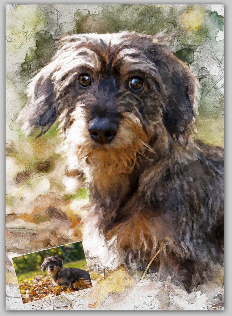 Gezeichnetes Tier Aquarell Hund