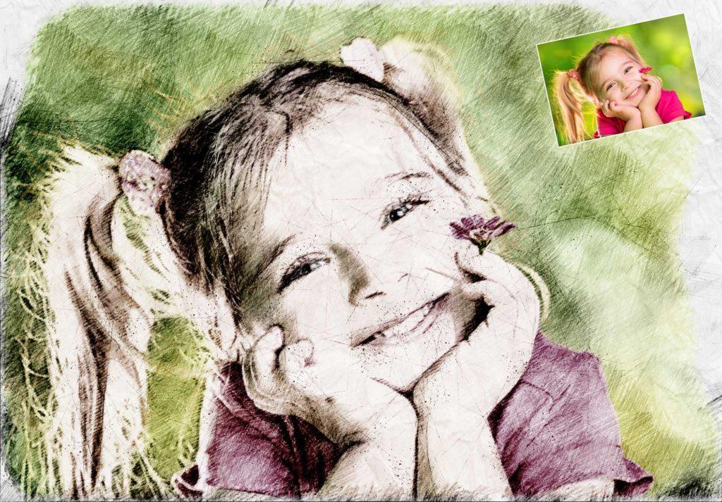 Zeichnung vom Kinderfoto