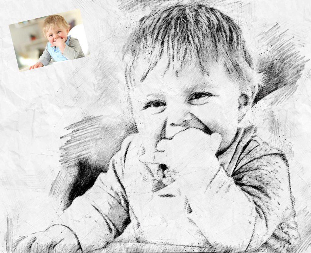 Zeichnung Kinderfoto