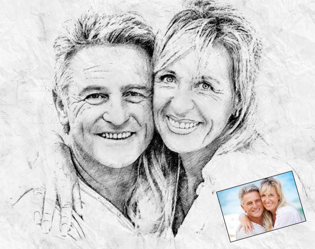 Zeichnung Hochzeitsfoto