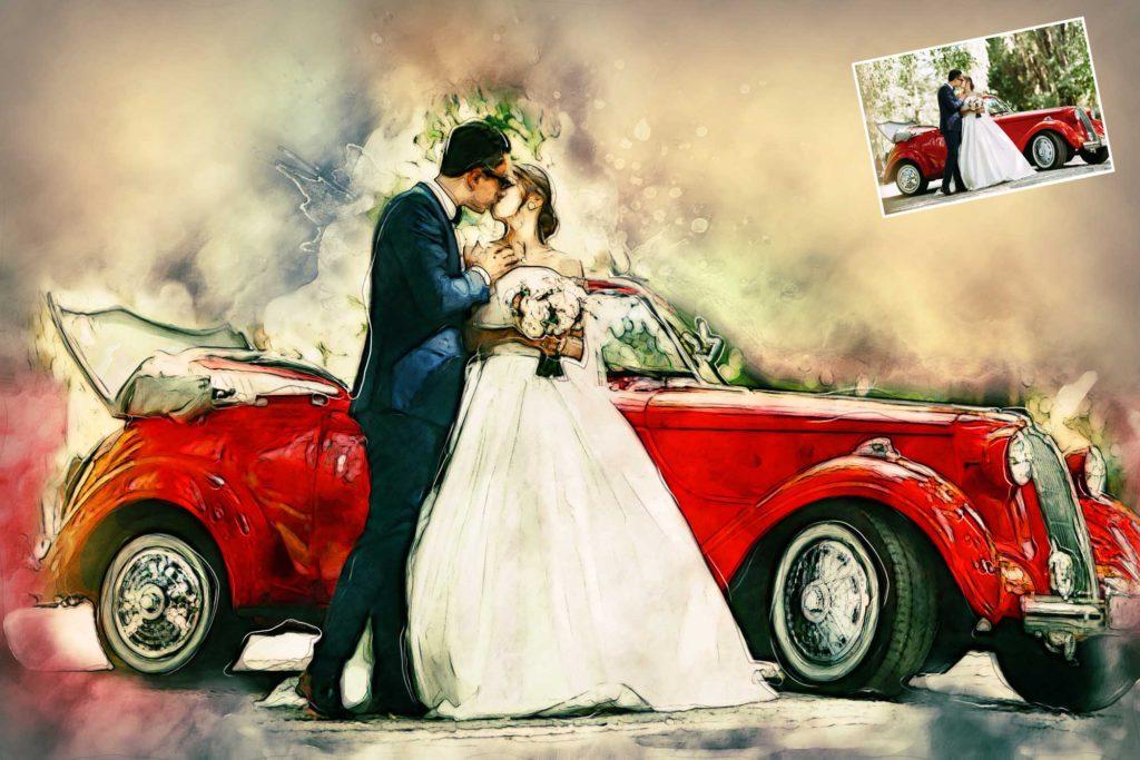 Leinwand vom Hochzeitsautu